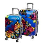 A2S Set of 2 trolley suitcases Paint Butterfly