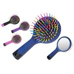Round silicone hair brush with mirror mini size