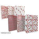 Χριστουγεννιάτικη σακούλα δώρου με glitter με κόκκινες παραστάσεις σε 6 σχέδια 26x12x32cm