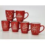 Χριστουγεννιάτικη κόκκινη κούπα 360ml σε 6 σχέδια