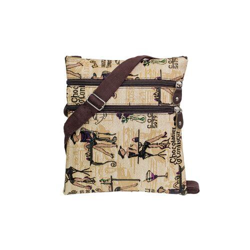 Fabric crossbody bag with vintage print