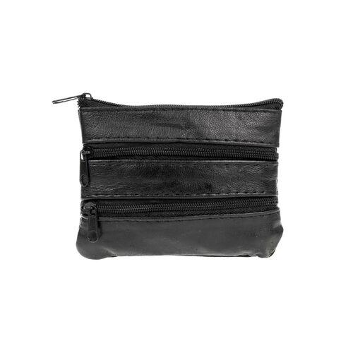 Black faux leather coin wallet 12x9cm