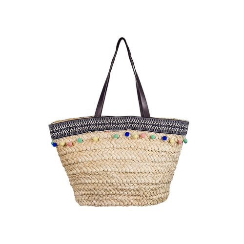 A2S Straw beach bag with colored pom-poms