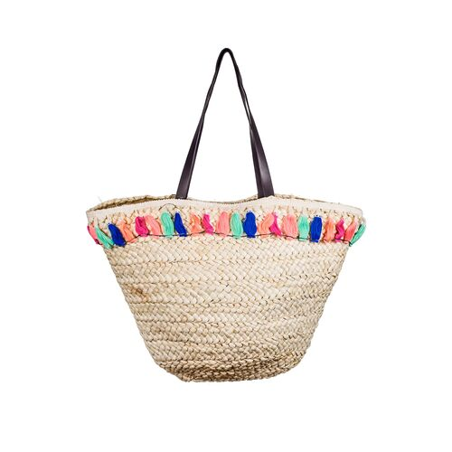A2S Straw beach bag with colored fringes