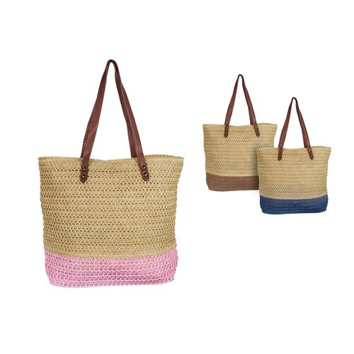 Straw beach bag with imitation leather straps