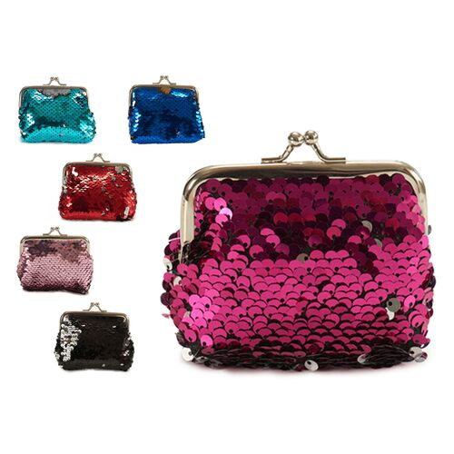 Sequin purse with metal closer in 6 colors
