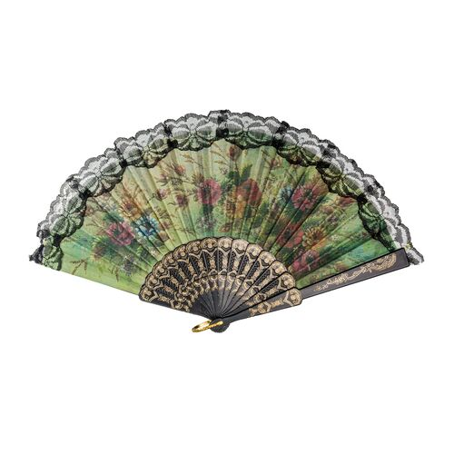 Floral hand fan with lace