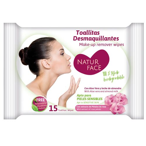Brevia makeup remover wipes with light rose scent
