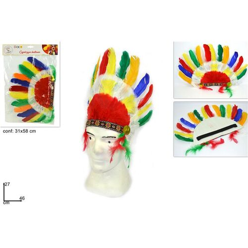 Masquerade indian hat with elastic 46x28cm