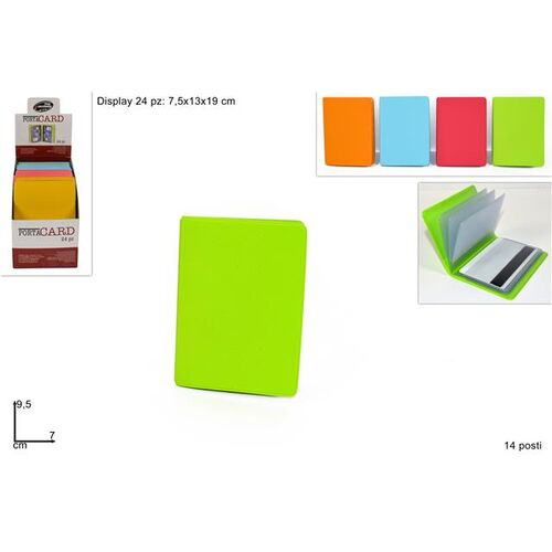 Card holder with 14 slides in different colours 7x9.5cm