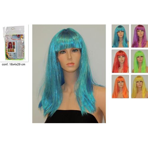 Masquerade coloured wig long and straight with fringe