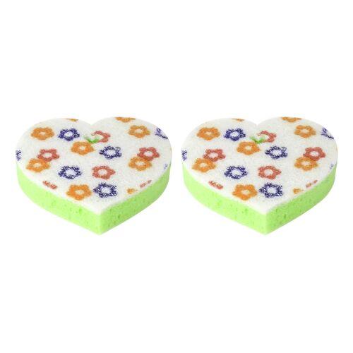 Bath sponge heart shape in different colors set 2pcs
