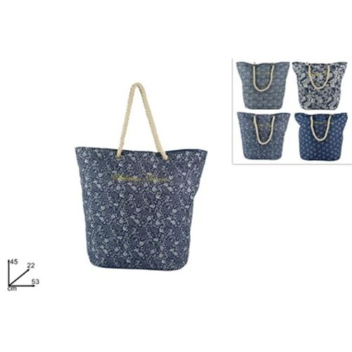 Sea bag with rope handles and jeans pattern in 4 colors
