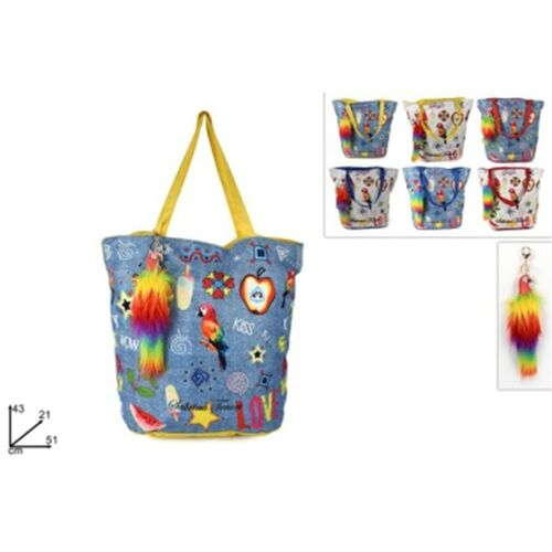 Sea bag with parrot keychain in 2 patterns and 3 colors