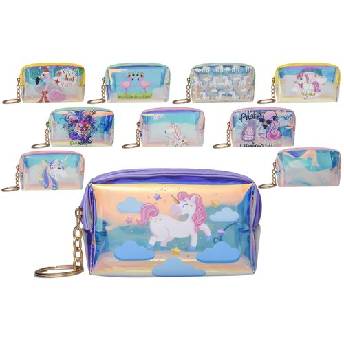 Vanity iridescent case - purse with stamps and keychain 9x7x5cm