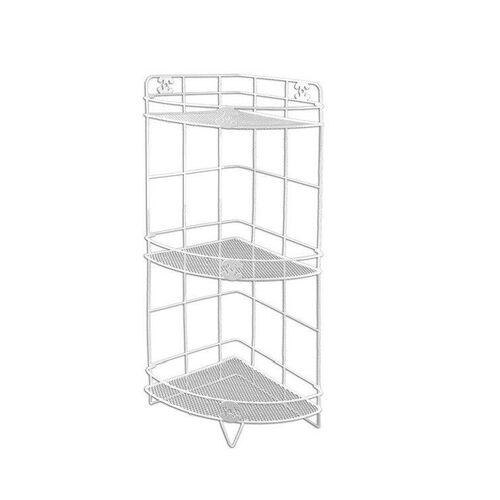 White metal corner bath rack 20x20x56cm