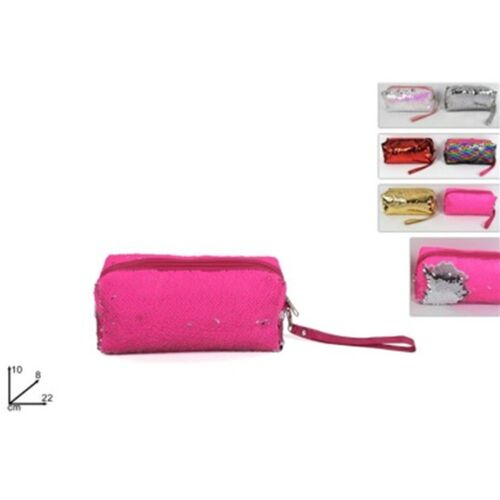 Pencil case with sequins of 2 tones in 6 colors 22x8x10cm