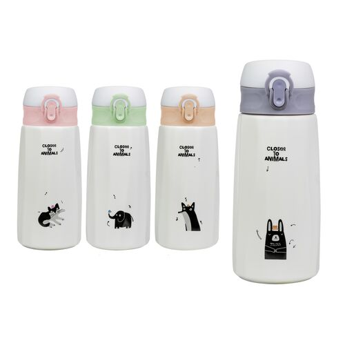 Ceramic thermos with plastic lid Close to animals